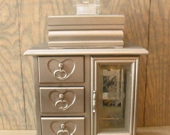 Romantic upcycled Jewelry box  3 vintage boxes in one tower ... Elegent silver chrome color With Vintage  heart storage chest