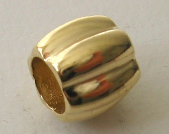 Genuine SOLID 9K 9ct YELLOW GOLD Charm Serenity Slice Bead