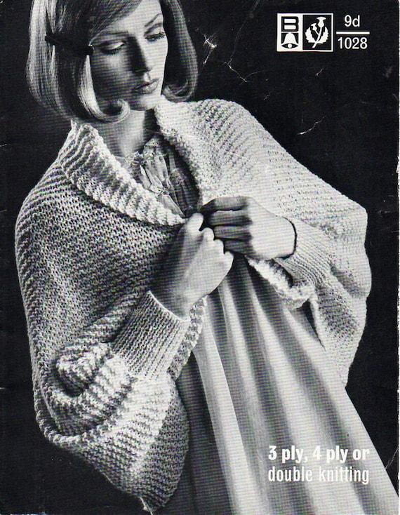 Womens All In One Bedjacket Womens Knitting Pattern Pdf