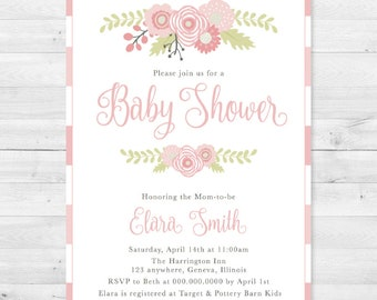 Rustic Floral Pink Baby Shower Invitation - Girl, Stripe, Flowers