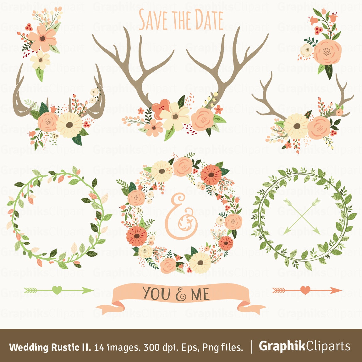 rustic wedding clipart ii floral antlers floral wreaths rh etsy com rustic wedding clipart free download rustic wedding clipart free download