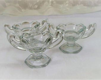 Three Vintage Glass Footed Salt Dips, Salt Bowls, ECS