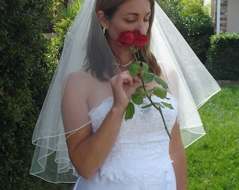 Two Tier Waist Length Circular Cut Veil With Serged Pencil Edge, Ivory or White - READY TO SHIP in 3-5 Days
