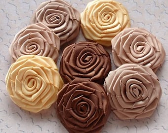 8 Handmade Ribbon Roses (1-1/2 inches) In  Latte, Brown, Tan, Old Yellow,  MY-027-13 Ready to Ship