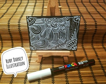 ACEO White on Black