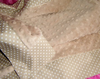 "Camel and White Polka Dot and Camel Minky Dot Baby Blanket 36""x 36"""