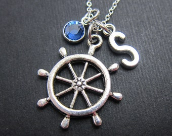Sailor's Wheel Necklace - Personalized Initial Name, Customized Swarovski crystal birthstone