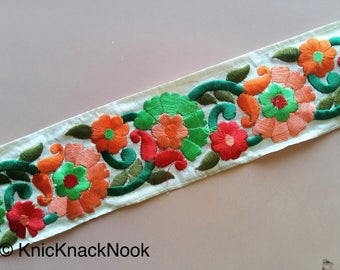 Off White Fabric Trim With Floral Embroidery, Orange, Red And Green Trim, 60mm wide - 200317L126
