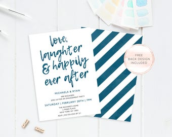 Engagement Party Invitation, Printable Engagement Party Invitation, Happily Ever After Engagement Invitation,  Engagement Invitation [570]