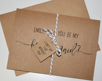 Personalised Printed Will You Be My Bridesmaid? Card - Recycled Rustic Kraft Card with Twine and 'I can't say 'I do' without you' Tag