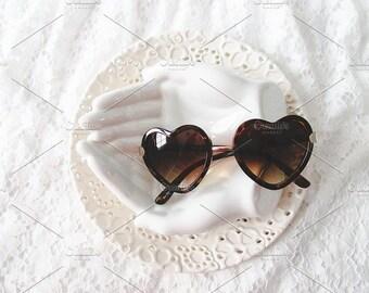 Styled Stock Photo   Sunglasses On White Dishes   Blog stock photo, stock image, stock photography, blog photography