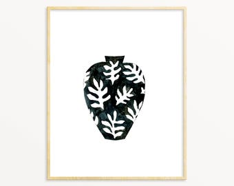 Botanical Print Vase Art Print. Eclectic Wall Art. Black & White Vase Painting. Black/White Scandinavian Style Minimalist Gallery Wall Art.