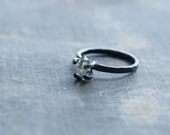 herkimer diamond ring, raw sterling silver ring, oxidized silver, prong set crystal ring, landscape inspired, alternative engagement ring