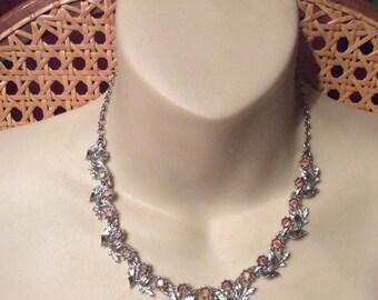 1950s aurora borealos rhinestone rhodium metal collar necklace.