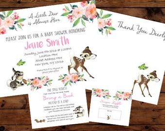 Bambi Deer Baby Shower Invitation Set