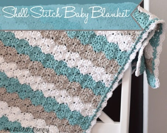 PDF Crochet Pattern - Shell Stitch Baby Blanket