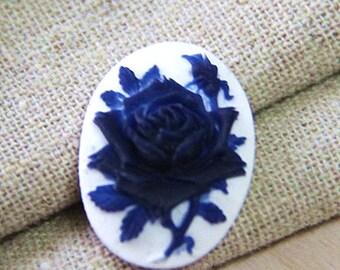 6  pcs of resin rose cameo-18x25mm- -0161-2-cobalt on white
