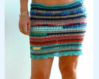 Multi colored crochet miniskirt- Stretch boho skirt- Festival crochet skirt -Pencil casual mini skirt- Fitted women skirt- blue red skirt