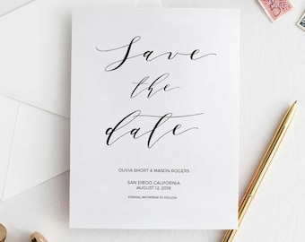 Calligraphy Save the Date, Rustic Save the Date, Save the Date Printable, Save the Date PDF, Wedding Template, Editable Save the date, STD18