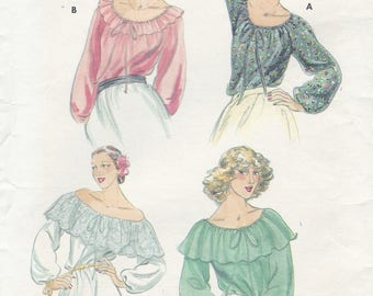 1970s Womens Peasant Top Drawstring Neckline Ruffled Boho Hippie Gypsy Tops Butterick Sewing Pattern 5714 Size 12 14 Bust 34 36 UnCut