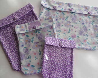 Lavender Floral Ouch Pouch Set 4 Sizes Clear Front Pocket Luggage Organizers Travel Totes Cosmetics First Aid Toiletries Diaper Bag Carry On