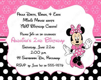 10 Pink & Black  Minnie Mouse Invitations with Envelopes.  Free Return Address Labels
