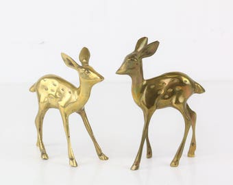 Two vintage brass deer collectors deer brass figurines Midcentury style