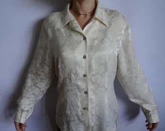 Vintage Silky Fabric Women's Blouse / Ivory Colored Blouse/ Long Sleeves  Shirt/ Classic Collar/Festive Blouse/Size:Large