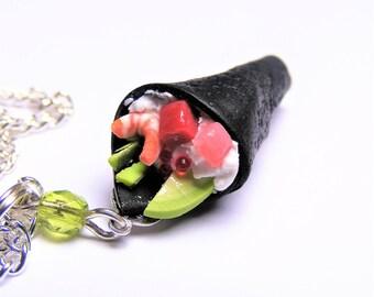 Food Jewelry Sushi Pendant, Sushi necklace, Sushi charm, Temaki Sushi, Miniature Food, Mini Food, Sushi Jewelry, Food Jewellery, Kawaii