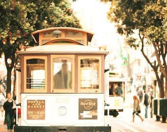 San Francisco Art, Cable Car, Gold, Beige, Green, Neutral, Rustic, San Francisco Prints, Vertical, Vintage, Retro
