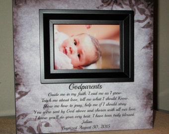 Personalized Godparent Gift Godparent Sign godmother Gift godfather gift for Godparents Personalized Baptism Christening Gift Godparent Poem