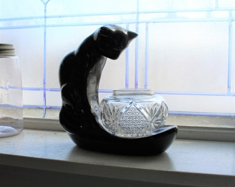 Mid Century Haeger Pottery Black Cat and Fishbowl Vintage 1950s