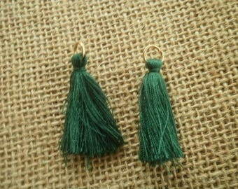 Set of 2 tassels tassel with a ring, green color, size 4 cm