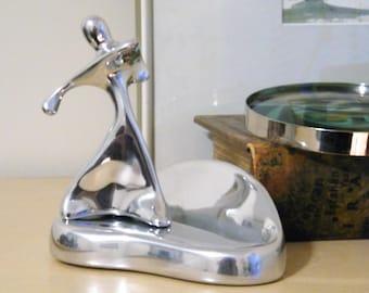 Hoselton Card Hoder with Golfer Modernist Sculpture, Vintage Desk Card Holder with Golf Trophy Minimalist Aluminum Figurine