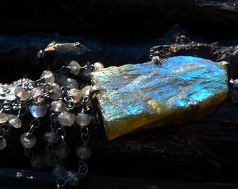 labradorite druzy necklace by Beijo Flor