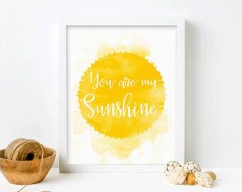 You Are My Sunshine Wall Art, Framed Nursery Print, Christmas Gift for Kids, Framed Art, Art for Kids Room, Nursery Wall Art