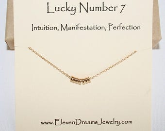 Lucky Number 7 Necklace! (Seven) Dainty gold or silver numerology necklace. Spiritual.