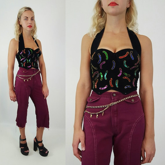 90s Velvet Bustier Crop Top - Small Medium Jewel Fringe Silver Sequin Dressy Party Festival Top - Boho Bralette Cropped Tank with Bra Cups