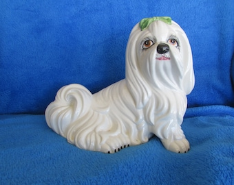 Vintage dog porcelain figurine - Made in Italy - Maltese/ Shih Tzu
