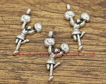 20pcs Cheerleader Charm Cheerleading Charm Cheer Charm Antique Silver Tone 29x15mm cf0512