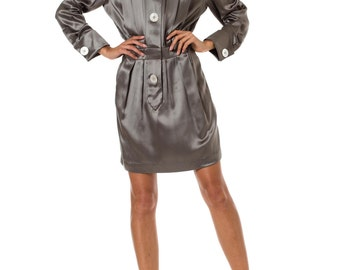 1980s Chanel Gray Pleated Long Sleeve Button Up Silk Satin Day Dress SIZE: M/L, 8/10