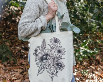 Sunflower & Black Eyed Susans Oregon Flowers Canvas Tote Bag