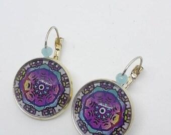 Colorful mandala cabochon earrings
