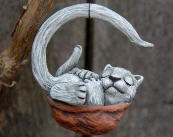 Sleeping Cat Walnut Ornament