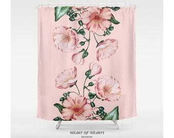 Shower Curtain, Pink Floral Shower Curtain, Botanical, Modern Bathroom Decor