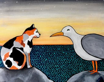 Calico Cat and Seagull Shelagh Duffett -  Print