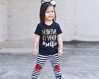 Believe In You Selfie Tshirt - Selfie Shirt - Trendy Shirt - Girls Shirt - Hashtag Shirt - Toddler Shirt - Mom Life - Glitter Shirt