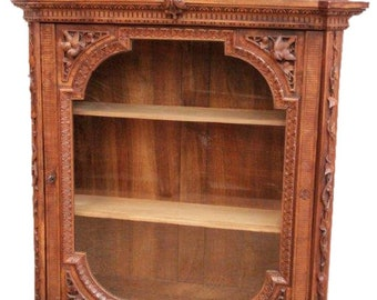 Large Antique Black Forest Wall Cabinet, Rare, Walnut, 19th Century, Rare