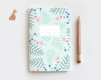 Spring Mint Floral Journal & Pencil, Travel Journal, Midori Insert, Hand Drawn Illustrated Palm Leaf Floral Notebook, Blank Lined Dot Grid