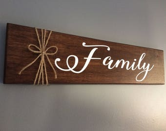 Free Shipping in Canada - Family Wooden Sign